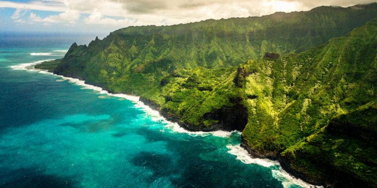 aerial, landscape, panoramic, napali, coast, green, ocean, forest, hawaii, kauai, lorenzo mittiga, fine art photography